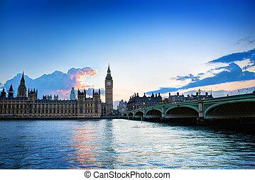 palota, nagy ben, westminster, uk., napnyugta, london