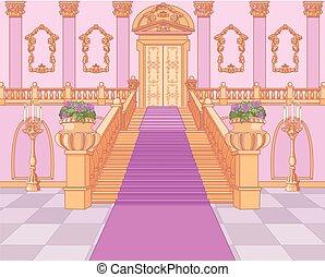 palota, varázslatos, lépcsőház, fényűzés