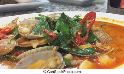 palourde, singapourien, centre, nourriture, sauce, fruits...