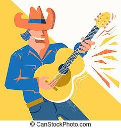 palying, kapelusz kowboja, gitarowy gracz, akustyczny, śpiew, człowiek