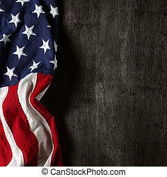 pamětní vlaječka, den, americký, 4 červenec, nebo