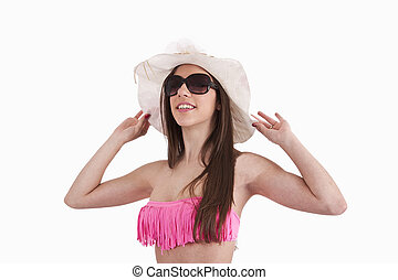 pamela, biquíni, óculos de sol, menina