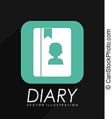 pamiętnik, ikona, osobisty
