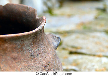 Pamir vessel - The ancient clay vessel from Pamir. Close-up,...