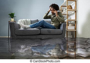pamlag, ember, vízvezeték szerelő, hívás, ülés
