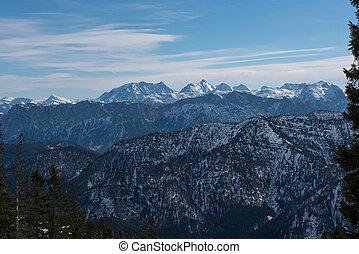 pamorama view of the austrian alps with Watzmann