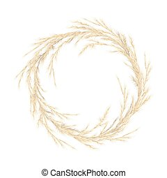 Pampas grass golden wreath. Vector illustration. panicle ...
