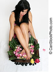 A woman relaxes with a botanical foot soak - above perspective
