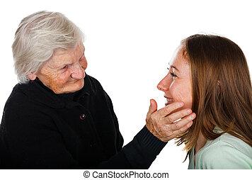 Pampering hands - Sweet elderly grandmother fondles her ...
