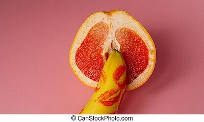 pamplemousse, fond, rose, traces, rouge lèvres rouge, banane