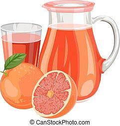 pamplemousse, vecteur, juice., illustration, frais