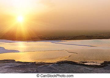pamukkale, coucher soleil