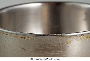 Pan - A Strict close up of a metal pan