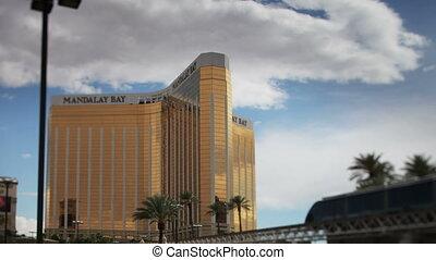 pan across the mandalay bay hotel/casino across to the luxor...