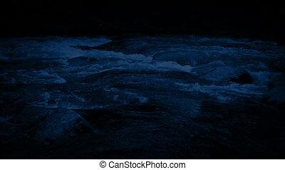 Pan Across Woodland River At Night - Panning shot following...