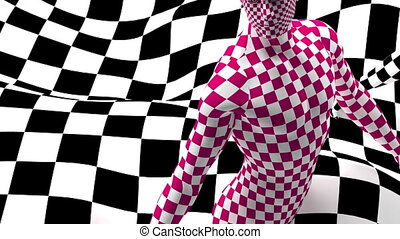 pan and zoom camera - Checkered composition with Black end...