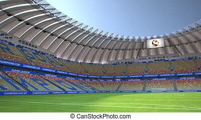 pan around empty football stadium - Camera pans around empty...