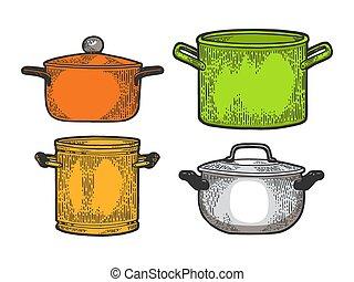 Pan casserole pot set kitchen utensils color sketch...
