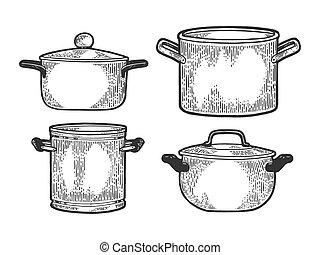 Pan casserole pot set kitchen utensils sketch engraving...
