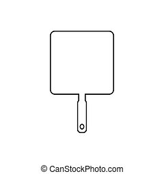 Pan cooking , vector line design icon