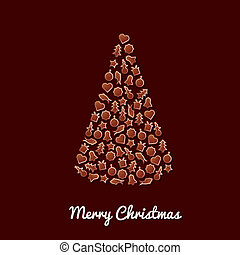 pan de jengibre, árbol de navidad