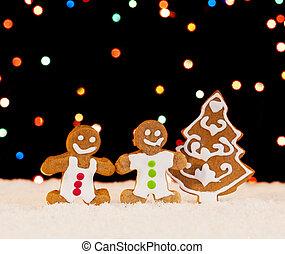 pan de jengibre, árbol, navidad, gente