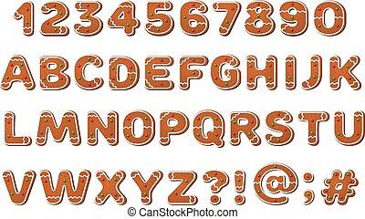 pan de jengibre, alfabeto