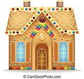 pan de jengibre, caricatura, casa