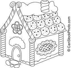 pan de jengibre, colorido, página, casa