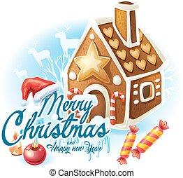 pan de jengibre, pegatina, navidad, casa