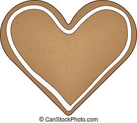 pan de jengibre, vector, corazón