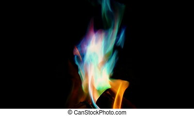Pan Down Onto Mystical Color Fire - Panning shot moving down...
