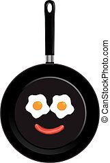 Pan - vector pan with smiley face eggs and link