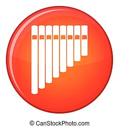 Pan flute icon, flat style