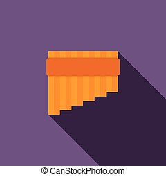 Pan flute icon in flat style