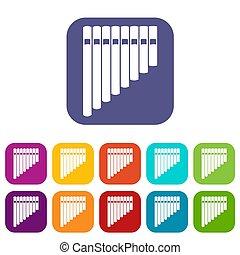 Pan flute icons set