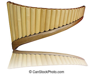 Pan flute pipes with reflection isolated on white