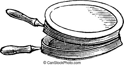 Pan for cooking chops on the stove for lunch, vintage engraving.