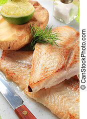 Pan fried white fish fillets with potato