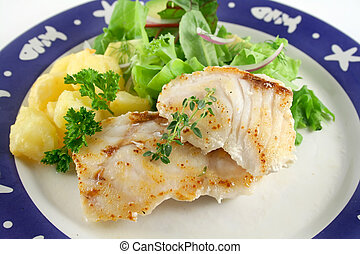 Pan Fried Perch 1 - Pan fried Pearl Perch with golden...