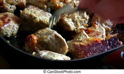 Pan - frying meat