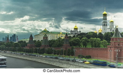 Pan hyperlapse of Moscow Kremlin, river boats and heavy clouds. 4K long exposure