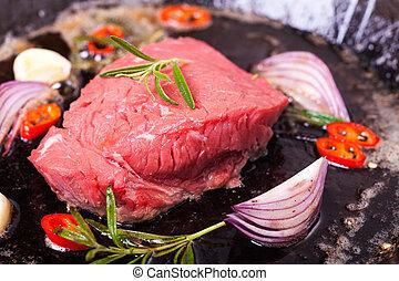 pan, ijzer, biefstuk, rauwe