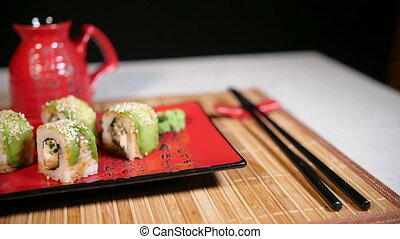Pan Motion of Green Sushi Food - Pan motion of green sushi...