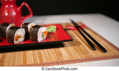 Pan Motion of Sushi Food Served on Platter - Pan motion of...