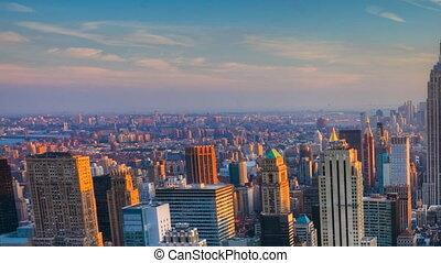 Pan of nightfall in Manhattan