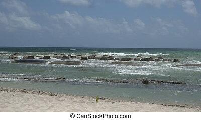 Pan of Ocean Barricade Beach