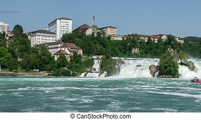 Pan of Rhine Falls in Switzerland
