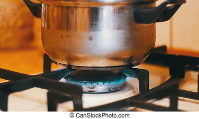Pan on a Gas Stove. Cooking Food at Home