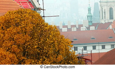 Pan on old city roofs in prague